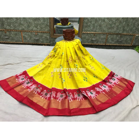 Kids Ikkat Pattu Pavada-Lemon Yellow and Red-3 to 8 Years-Sitarini-PGMHIPLK135