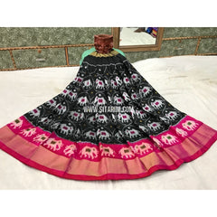 Kids Ikkat Silk Lehenga in Black and Magenta-Sitarini-PGMHIPLK119