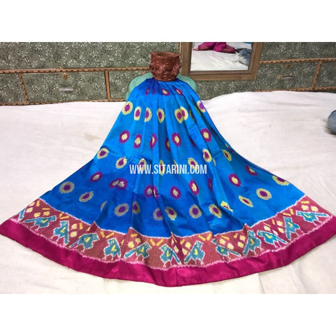 Kids Ikkat Silk Lehenga in Blue and Magenta-Sitarini-PGMHIPLK100