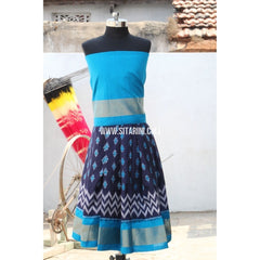 Kids Ikkat Silk Lehenga in Light Blue and Royal Blue Color-0 to 3 years-Sitarini-PRHIPLK147