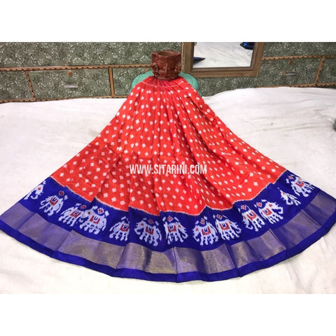 Kids Ikkat Silk Lehenga in Light Red and Royal Blue-Sitarini-PGMHIPLK104