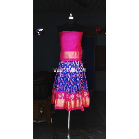Kids Ikkat Silk Lehenga in Magenta and Royal Blue Color-0 to 3 years-Sitarini-PRHIPLK141