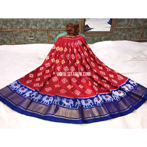 Kids Ikkat Silk Lehenga in Maroon and Royal Blue-Sitarini-PGMHIPLK105