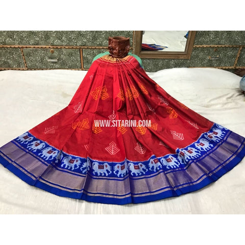 Kids Ikkat Silk Lehenga in Maroon and Royal Blue-Sitarini-PGMHIPLK106