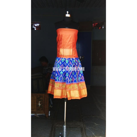 Kids Ikkat Silk Lehenga in Orange and Royal Blue Color-0 to 3 years-Sitarini-PRHIPLK143