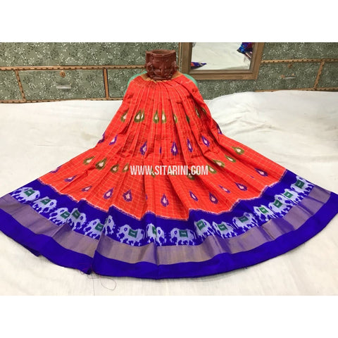 Kids Ikkat Silk Lehenga in Orange and Royal Blue-Sitarini-PGMHIPLK117
