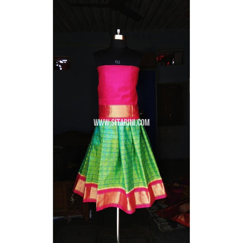 Kids Ikkat Silk Lehenga in Pink and Light Green Color-0 to 3 years-Sitarini-PRHIPLK132