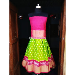 Kids Ikkat Silk Lehenga in Pink and Parrot Green Color-0 to 3 years-Sitarini-PRHIPLK152