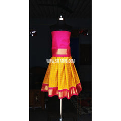 Kids Ikkat Silk Lehenga in Pink and Yellow Color-0 to 3 years-Sitarini-PRHIPLK131