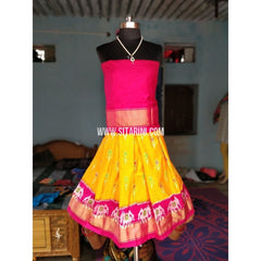 Kids Ikkat Silk Lehenga in Pink and Yellow Color-0 to 3 years-Sitarini-PRHIPLK165
