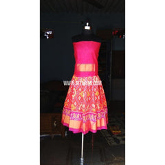 Kids Ikkat Silk Lehenga in Pink Color-0 to 3 years-Sitarini-PRHIPLK128