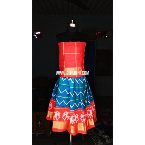 Kids Ikkat Silk Lehenga in Red and Light Blue Color-0 to 3 years-Sitarini-PRHIPLK135