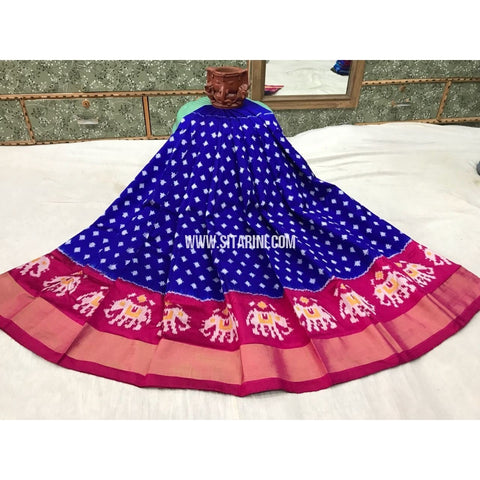Kids Ikkat Silk Lehenga in Royal Blue and Magenta-Sitarini-PGMHIPLK113
