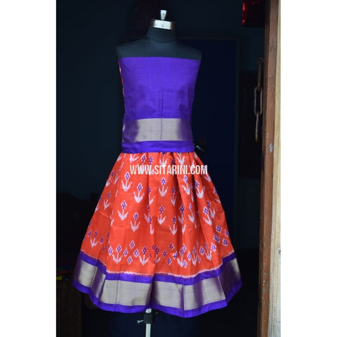 Kids Ikkat Silk Lehenga in Royal Blue and Orange Color-0 to 3 years-Sitarini-PRHIPLK148