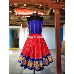 Kids Ikkat Silk Lehenga in Royal Blue and Red Color-0 to 3 years-Sitarini-PRHIPLK155