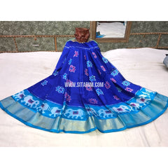 Kids Ikkat Silk Lehenga in Royal Blue and Sky Blue-Sitarini-PGMHIPLK120