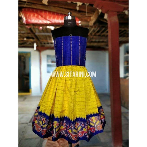 Kids Ikkat Silk Lehenga in Royal Blue and Yellow Color-0 to 3 years-Sitarini-PRHIPLK156