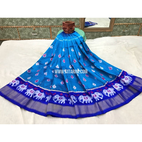 Kids Ikkat Silk Lehenga in Sky Blue and Royal Blue-Sitarini-PGMHIPLK122