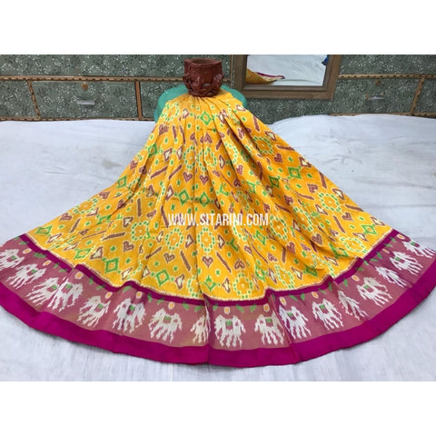 Kids Ikkat Silk Lehenga in Yellow and Magenta-Sitarini-PGMHIPLK116