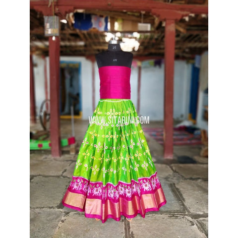 Kids Ikkat Silk Lehenga-Magenta and Parrot Green-PRRHIPL167