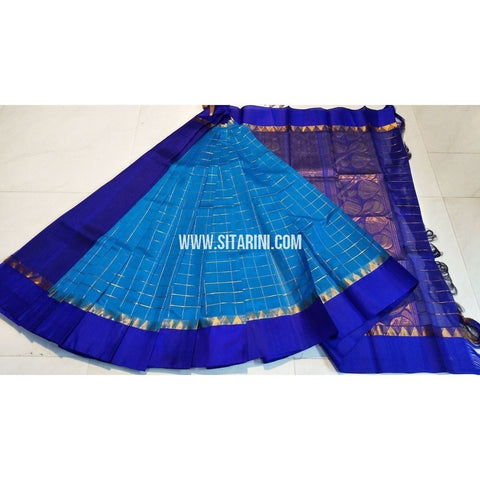 Kuppada Pattu Sarees-Checks-Light Blue and Royal Blue-Sitarini-UMKHKPC109