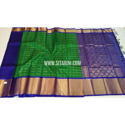 Kuppadam Checks Saree-Green and Blue-Sitarini-SITKUS157