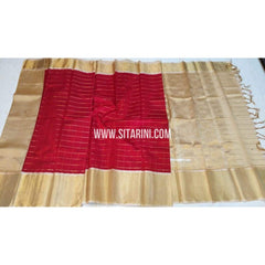 Kuppadam Checks Saree-Red and Cream-Sitarini-SITKUS171