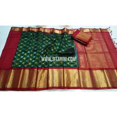 Kuppadam Checks Saree with Buttas-Bottle Green and Maroon-Sitarini-SITKUS141