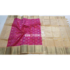 Kuppadam Checks Saree with Buttas-Pink and Cream-Sitarini-SITKUS132