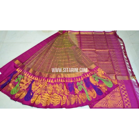 Kuppadam Pattu Saree-Bottle Green Shades and Magenta-Sitarini-UMKHKPS144