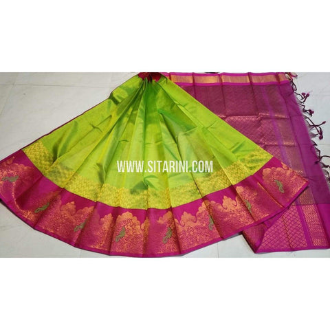 Kuppadam Pattu Saree-Green and Pink-Sitarini-UMKHKPS227