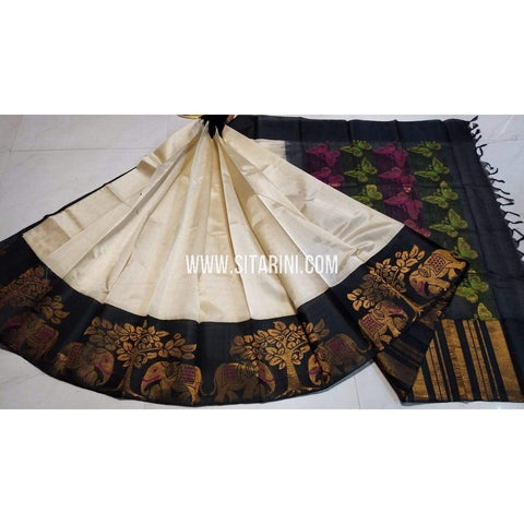 Kuppadam Pattu Saree-HalfWhite and Black-Sitarini-UMKHKPS225