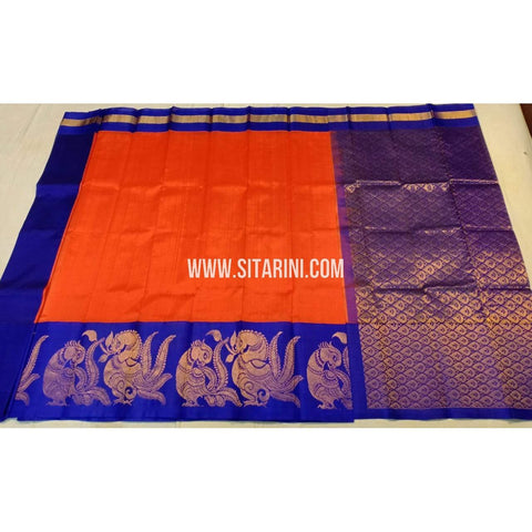 Kuppadam Pattu Saree-Orange and Royal Blue-Sitarini-UMKHKPS185