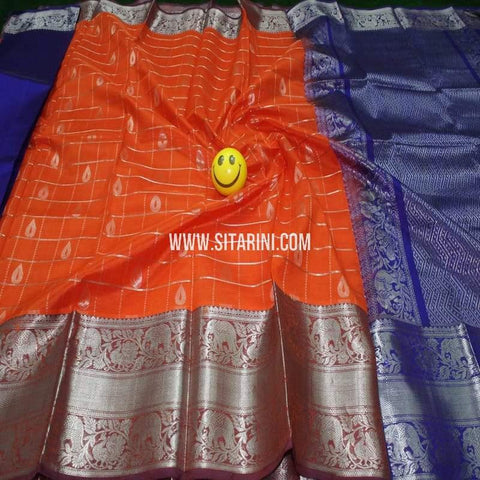 Kuppadam Pattu Saree-Orange-Sitarini-SITKUS621