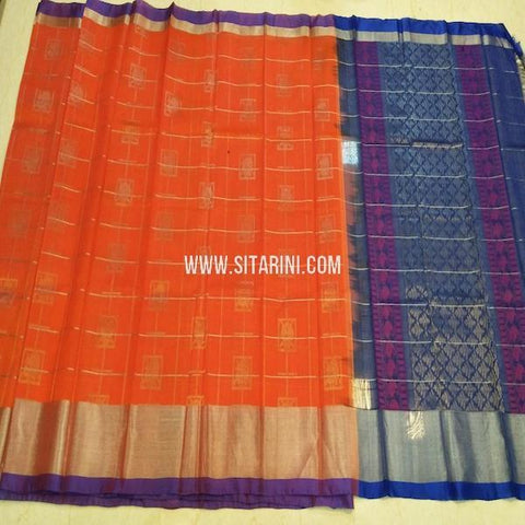 Kuppadam Pattu Saree-Orange-Sitarini-SITKUS667