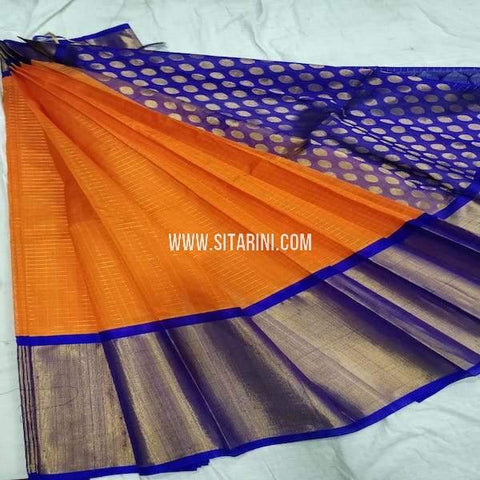 Kuppadam Pattu Saree-Orange-Sitarini-SITKUS678