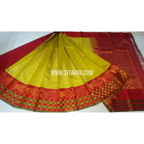 Kuppadam Pattu Saree-Yellow and Red-Sitarini-UMKHKPS277