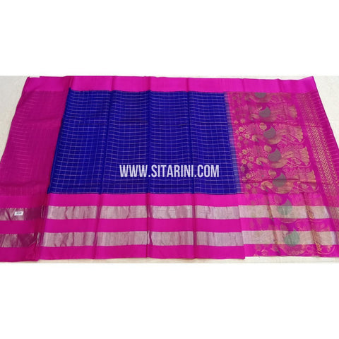 Kuppadam Pattu Sarees-Blue And Pink-Sitarini-SITKUS421