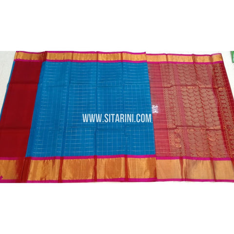 Kuppadam Pattu Sarees-Blue And Red-Sitarini-SITKUS418