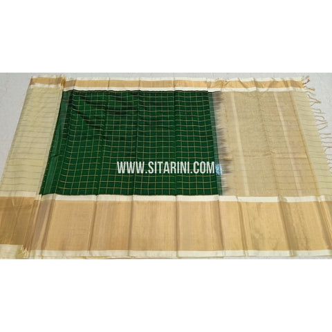 Kuppadam Pattu Sarees-Bottle Green And Off White-Sitarini-SITKUS414