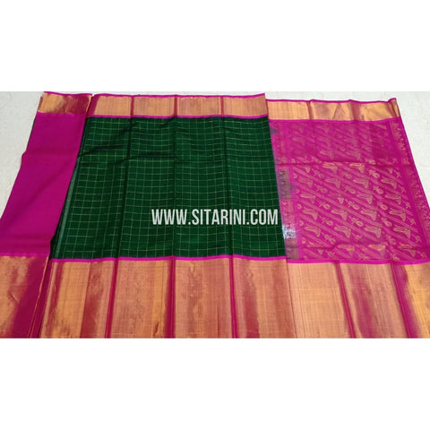 Kuppadam Pattu Sarees-Bottle Green And Rani Pink-Sitarini-SITKUS415