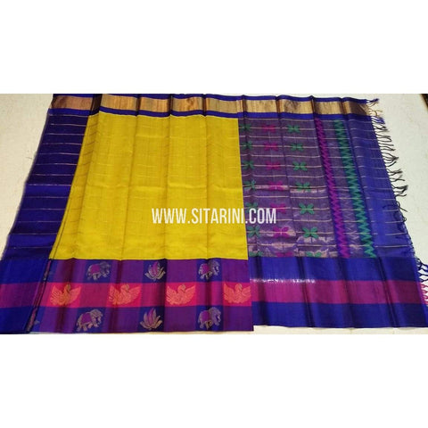 Kuppadam Pattu Sarees-Gold And Blue-Sitarini-SITKUS396