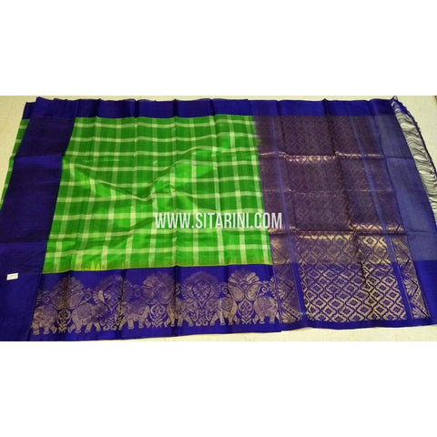 Kuppadam Pattu Sarees-Green And Blue-Sitarini-SITKUS394
