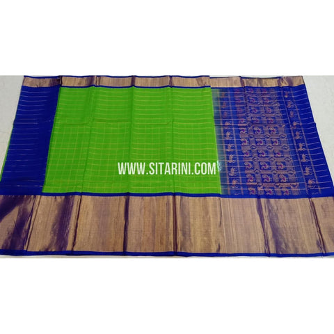 Kuppadam Pattu Sarees-Green And Blue-Sitarini-SITKUS405