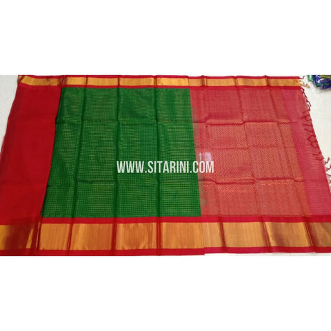 Kuppadam Pattu Sarees-Green And Red-Sitarini-SITKUS420
