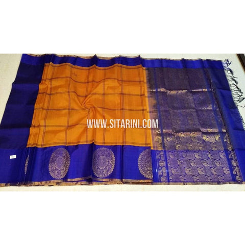 Kuppadam Pattu Sarees-Orange And Blue-Sitarini-SITKUS393