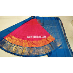 Kuppadam Pattu Sarees-Pink and Royal Blue-Sitarini-UMKHKPS100