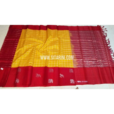 Kuppadam Pattu Sarees-Yellow And Red-Sitarini-SITKUS395