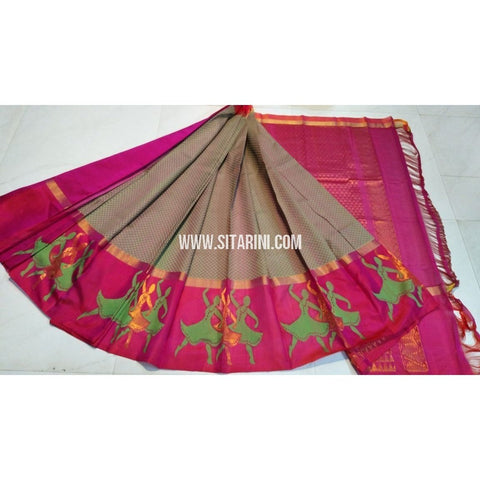 Kuppadam Saree-Light Bottle Green Shades and Magenta-Sitarini-UMKHKPS137