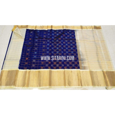 Kuppadam Saree-Pattu-Blue and Halfwhite-Sitarini-UMKHKPS298